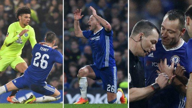 Returning Terry sent off as Chelsea progress in cup